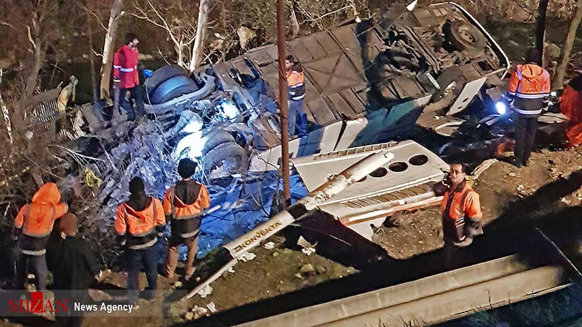 سقوط یک دستگاه اتوبوس در محور دوآب سوادکوه به دره